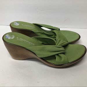 A. Giannetti Green Leather Wedge Slide Sandals